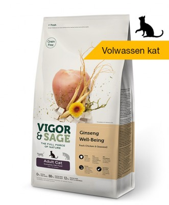 Vigor & Sage <BR>Ginseng Well-Being <BR>Adult Cat - 10kg