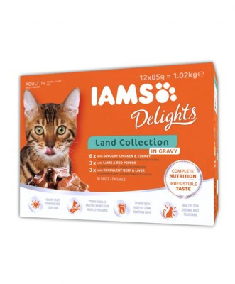 AANBIEDING<BR>Iams Delights Land Collection 12 pack
