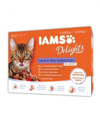 AANBIEDING<BR>Iams Delights Land & Sea Collection 12 pack